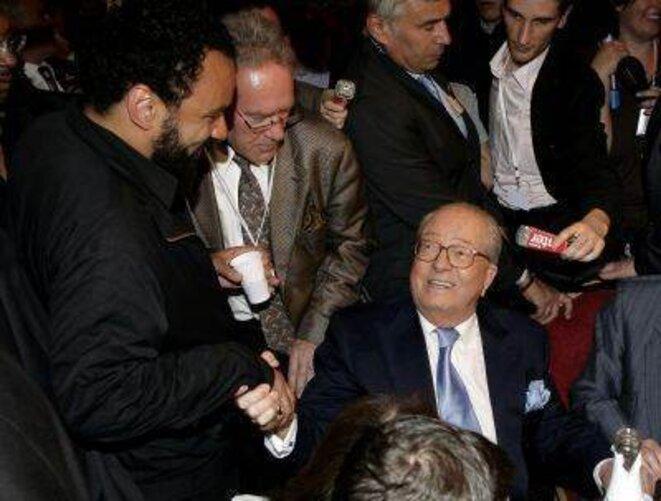 Dieudonné and Le Pen. Former enemies, now friends, and even family.