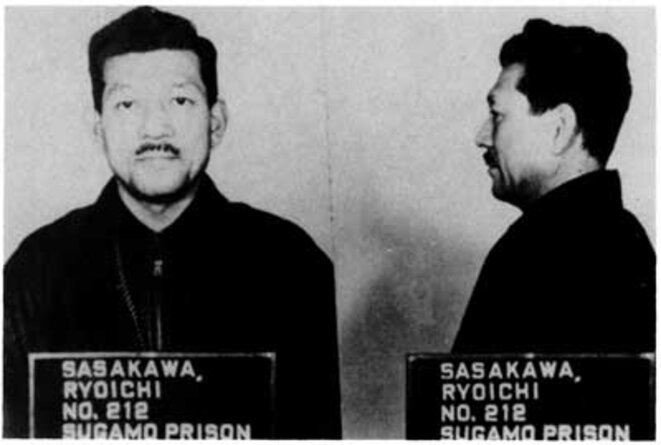 War criminal: Ryoichi Sasakawa pictured after his arrest. © DR