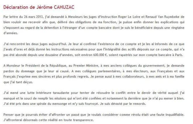 The statement on Cahuzac's blog.