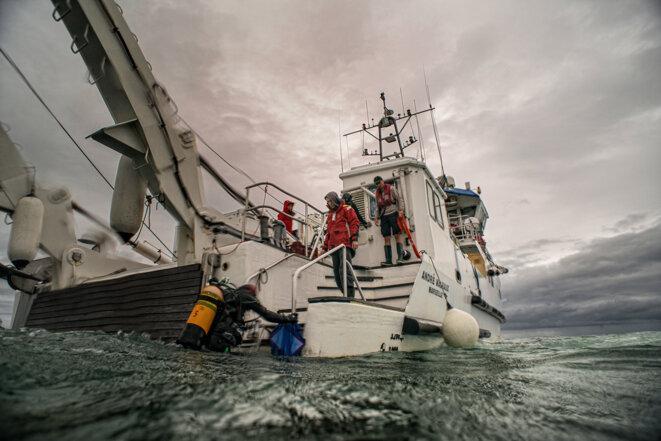 A bord de lAndré Malraux pendant la campagne éolien offshore 2014 © T. Seguin Drassm