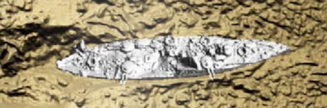 Image numérique du /Danton /obtenue à partir de données multi-faisceaux. Opération Galsi/Fugro