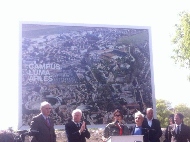 Préfet de région M. Cadot, Président Région Paca M. Vauzelle, M. Hoffmann, F. Gehry, maire H. Schiavetti © Polomé