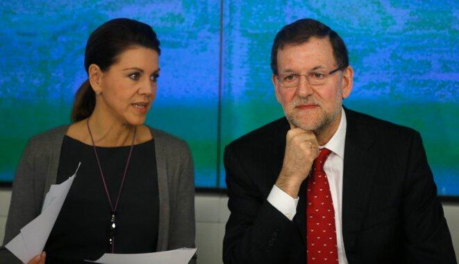 Maria Dolores de Cospedal et Mariano Rajoy, accusés d'avoir touché des enveloppes par Luis Barcenas. © Sergio Perez/Reuters