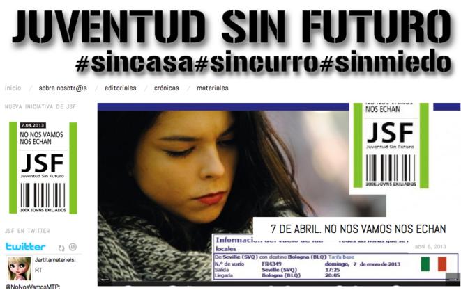Sitio internet de Juventud sin futuro