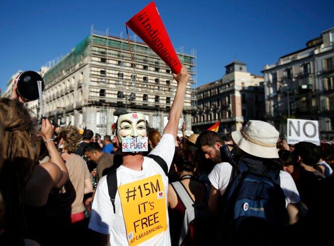 Manifestation sur la Puerta del Sol, dimanche 12 mai.