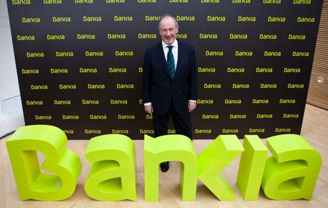 Rodrigo Rato lorsqu'il dirigeait Bankia. © Bankia