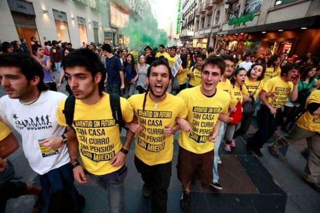 Un grupo de Juventud sin futuro en una protesta