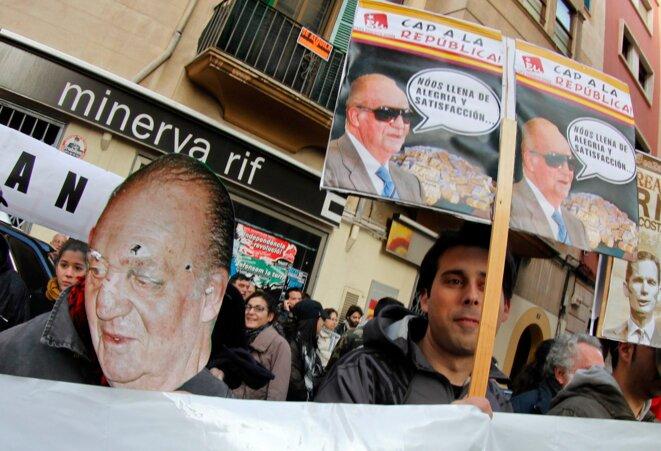 Manifestación contra la monarquía en Palma de Mallorca, en febrero del 2012.