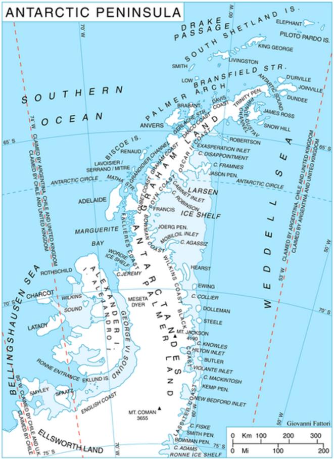 Carte de la pénisule Antarctique © Giovanni Fattori