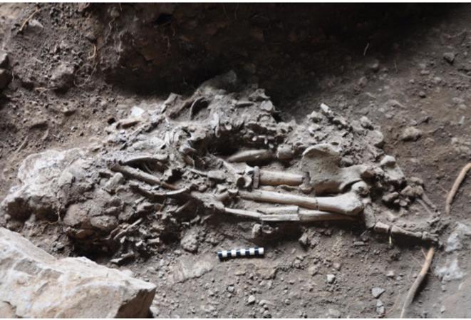 Les restes de l'homme de Mota photographiés sur le site © Science