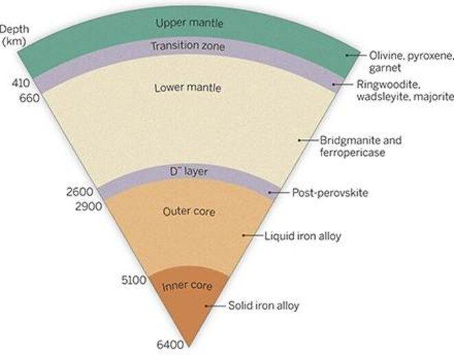 Schéma en coupe de la Terre; la bridgmanite se trouve dans le manteau inférieur (beige clair) © Science
