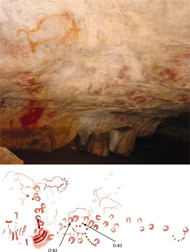 Le disque rouge peint dans la grotte d'El Castillo