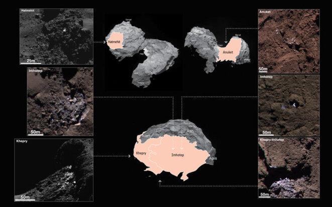 Glace observée par Roseta à la surface de la comète Tchouri © ESA/Rosetta/MPS