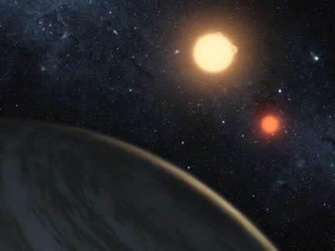 Vue artistique du double lever de soleil sur la planète Kepler-16b © NASA/JPL-Caltech/T.Pyle