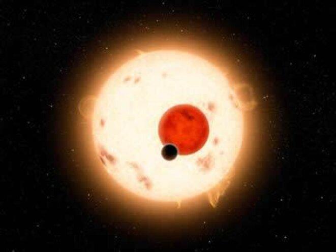 Vue artistique d'une éclipse provoquée par la planète Kepler-16b