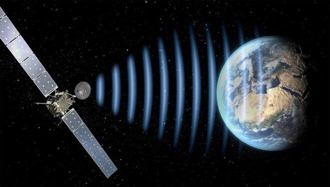 Représentation artistique de la transmission d'un signal par Rosetta © ESA-C.Carreau