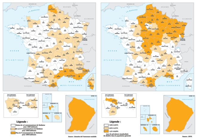 Carte des prescriptions de Mediator en 2008-2009 (à gauche) et de la prévalence du diabète (à droite) © Mediapart