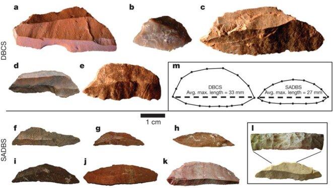 Microlithes découverts par Kyle Brown en Afrique du sud © Nature