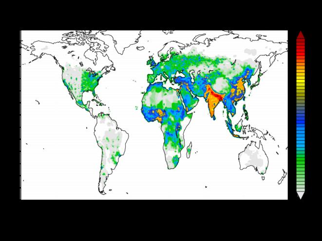Carte montrant l'intensité de la pollution de l'air (échelle du vert clair au rouge foncé) © Nature
