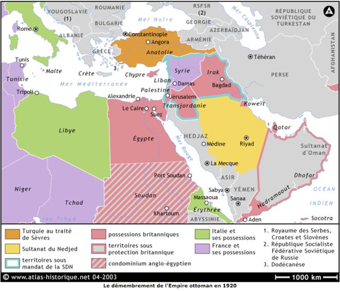Démembrement de l'Empire Ottoman 1920