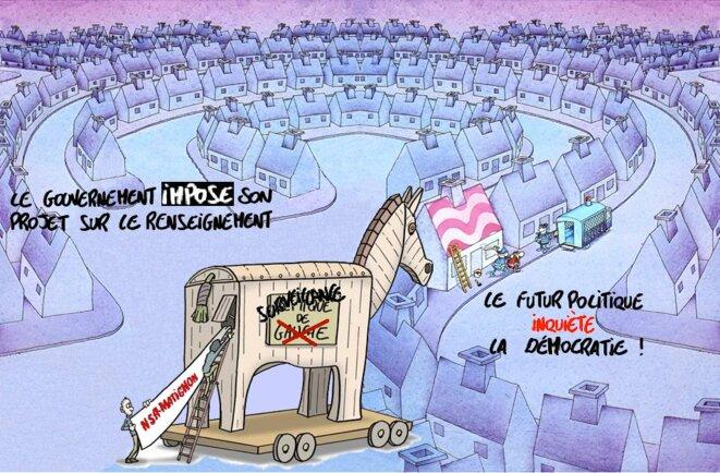 Loi sur le Renseignement - la Démocratie inquiète © Alain BONNEAU