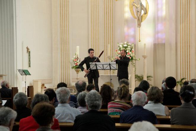 Guilhaume Santana (basson) et Sébastien Giot (hautbois) dans la Sonatine de Jolivet © Michel Spitz