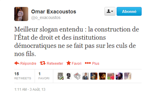 L'un des slogans crié vendredi 2 août à Rabat © @o-exacoustos