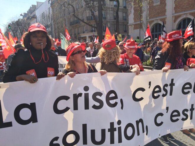 Manifestation parisienne, le 9 avril, contre l'austérité © @Mathilde Goanec