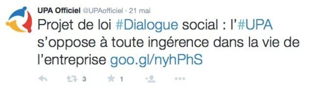 Tweet de l'UPA sur le dialogue social © DR