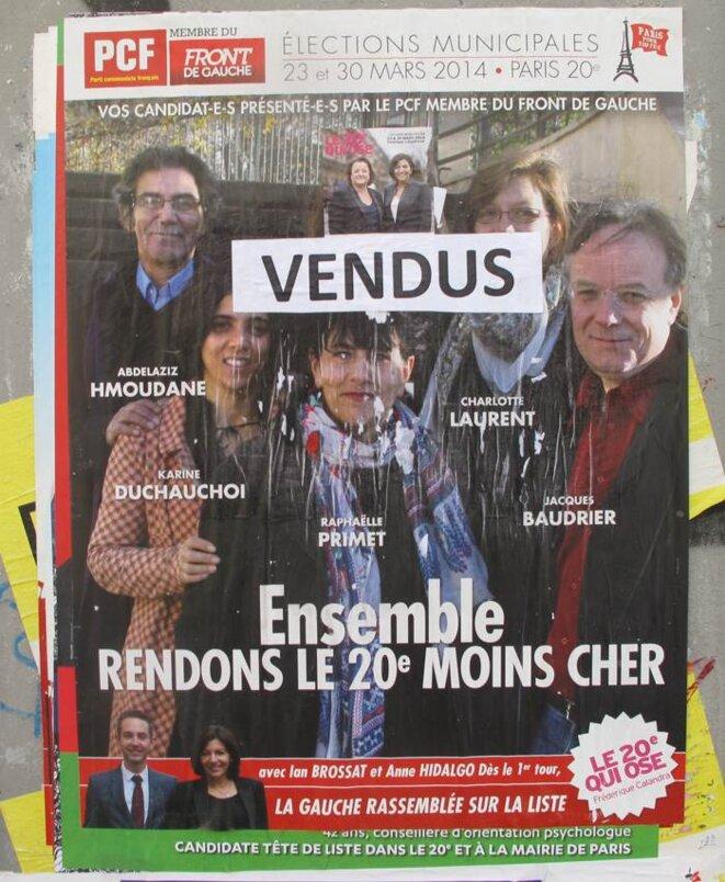 Une affiche du PCF vue rue de Belleville (75020 Paris) le 24/03/2014 parmi beaucoup d'autres (mal)traitées de la même façon ! © Pierre Magne