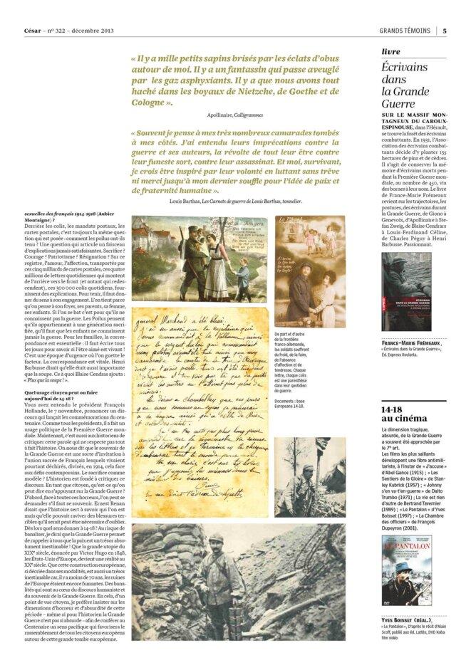 César 322 - édition décembre 13 - A la Une
