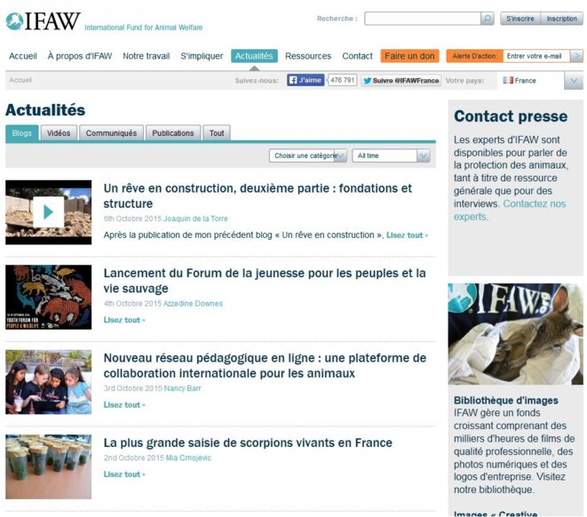 page d'accueil IFAW - 2015-10-14 © outils de capture