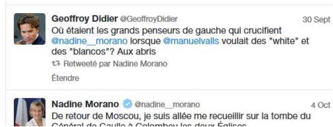 30 sept 2015 - Après la sanction UMP (LR) contre Morano, Geoffroy Didier se rendit compte que Valls réclamait des Whites, des Blancos en 2009... © Cui-cui