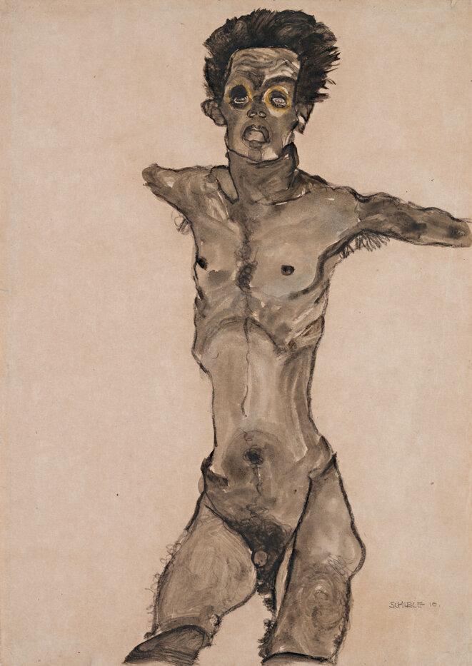 Autoportrait nu en gris avec la bouche ouverte - 1910 © Egon Schiele