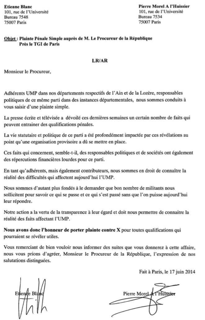 La plainte des députés Blanc et Morel-A-L'Huissier (UMP)