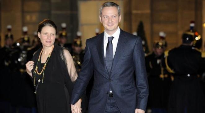 Le député UMP Bruno Le Maire avec son épouse Pauline, artiste-peintre, rémunérée comme assistante jusqu'à l'été 2013.