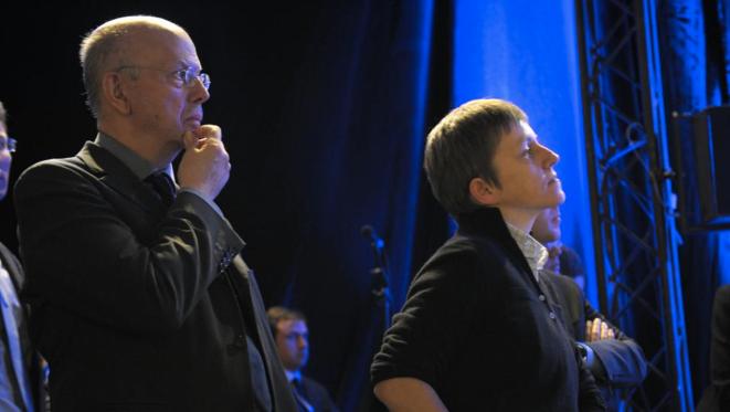 Patrick Buisson et Emmanuelle Mignon pendant la campagne de 2012 © Reuters