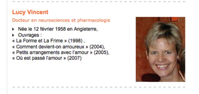 La bio de Lucy Vincent sur le site du CAS