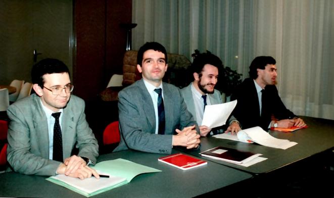 Au cabinet Evin: J. Cahuzac (à droite) et D. Tabuteau (à gauche), futur DG de l'Agence du médicament © DR