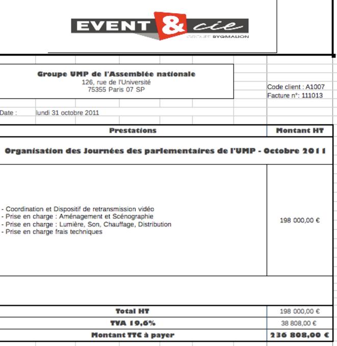 Facture tirée de la comptabilité interne d'Event & Cie