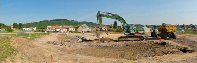 Le parking de covoiturage en construction à Kanfen (Moselle)