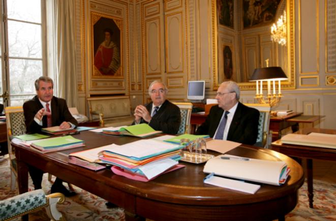 Le conseil de questure en 2010 avec Philippe Richert (UMP), Jean-Marc Pastor (PS) et René Garrec (UMP)
