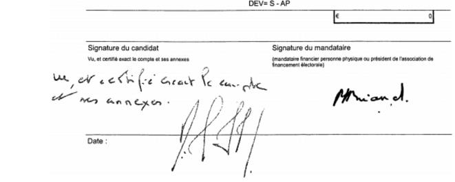 Le compte de campagne déposé et certifié exact par Nicolas Sarkozy