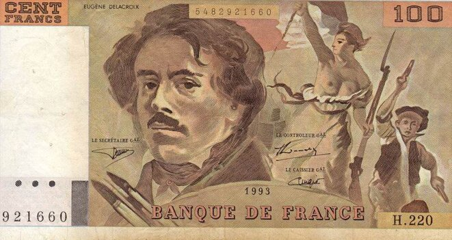 Billet de cent francs Eugene Delacroix