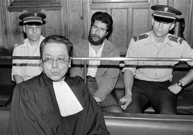 Avec Jacques Vergès, lors de son procès
