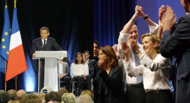 Nicolas Sarkozy et Bruno Le Maire en meeting à Paris.
