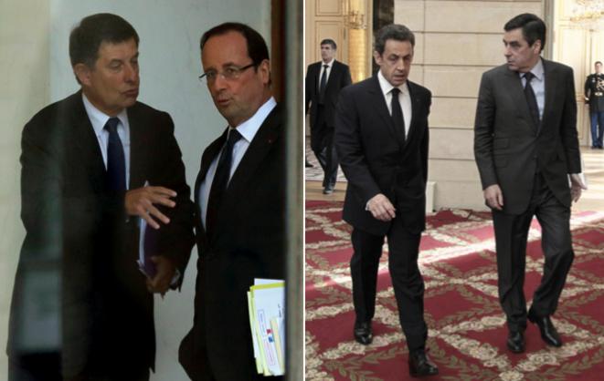 Jean-Pierre Jouyet et François Hollande, Nicolas Sarkozy et François Fillon © Reuters
