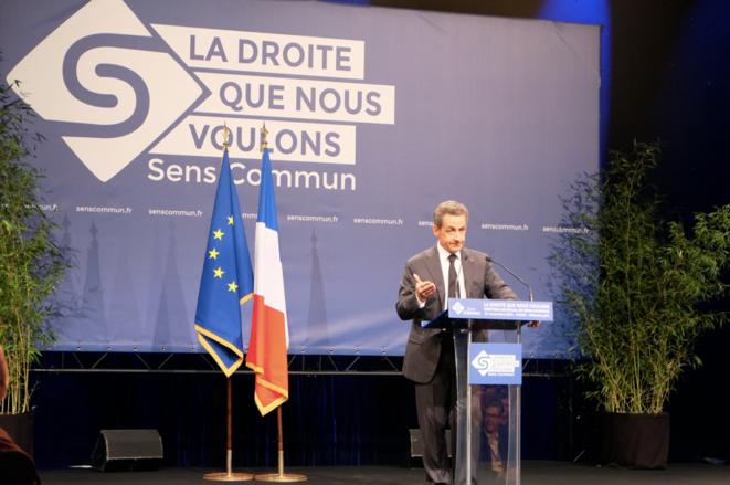 Nicolas Sarkozy au meeting de Sens Commun, le 15 novembre à Paris.
