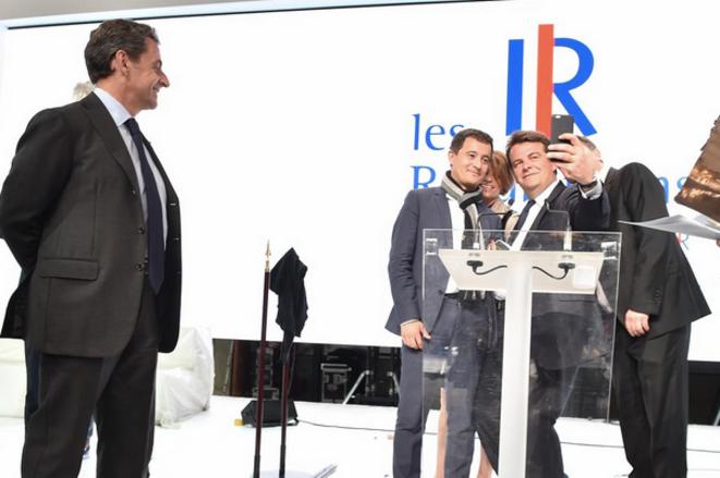 Nicolas Sarkozy et quatre des élus UMP choisis pour animer le congrès refondateur du 30 mai.