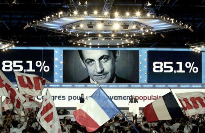Première élection de Nicolas Sarkozy à la tête de l'UMP, le 28 novembre 2004, au congrès du Bourget.